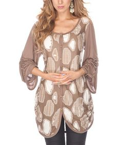 Farb-und Stilberatung mit www.farben-reich.com - Take a look at this Mocha Button-Up by Lily on #zulily today!