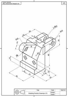 Ölçülendirilmiş Perspektif Resim Örnekleri   Makine Eğitimi Autocad Isometric Drawing, Isometric Drawing Exercises, Mechanical Engineering Design, Mechanical Design, Interesting Drawings, Detailed Drawings, Learn Autocad, Solidworks Tutorial, Geometric Construction