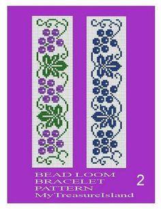 Items similar to Bead Loom Grapes and Leaves Border 3 Bracelet Patterns 2 Designs 2 PDF on Etsy Loom Bracelet Patterns, Bead Loom Bracelets, Beading Patterns, Counted Cross Stitch Patterns, Cross Stitch Designs, Filet Crochet, Crochet Hats, Leaf Border, Brick Patterns