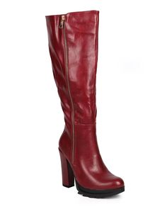 DbDk DA17 Women Leatherette Knee High Chunky Heel Zip Riding Boot - Wine ** More info could be found at the image url.