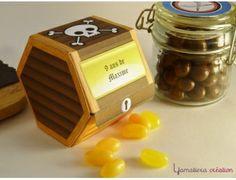 Boite à friandises en forme de coffre-fort du kit printable le petit pirate