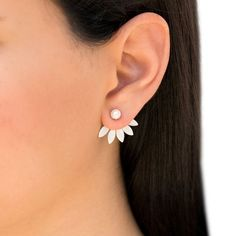 Pair of totally handmade 925 solid sterling silver ear jacket earrings. High quality round fresh water pearl studs with behind the ear lobe sterling