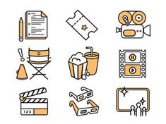 Dribbble - Movie Icons for IFF by Elizabeth Goodspeed Icon Design, Line Design, Ppt Design, Film Icon, Tattoos Skull, Iconic Movies, Cute Icons, Grafik Design, Illustrations And Posters