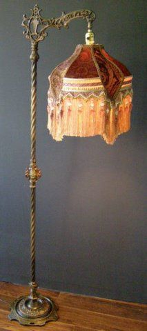 .~.✿.~.Antique Bridge Lamp and Victorian Lampshade.~.✿.~.