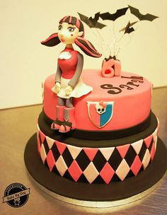Monster High Draculaura tiered birthday cake with draculaura character made from fondant