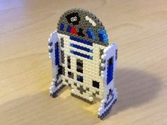 3D R2D2 - Star Wars original perler bead design by Guus Oosterbaan - Pattern: https://www.pinterest.com/pin/374291419007788452/