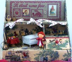 Little Red Riding Hood Doll Display, Tiny Dolls, Red Riding Hood, Little Red, Shadow Box, Altered Art, Grandkids, Woodland, Fairy Tales