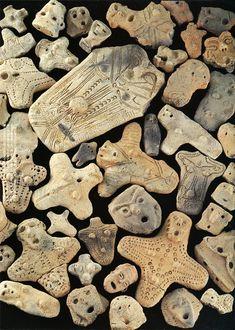 "japaneseaesthetics:  ""DOGU"" ceramics, which were discovered in remains of Aomori. Jomon-era. BC.3,500 - BC.2,500. Aomori Japan. Via Pinterest"