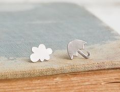 Rainy Day Earrings Silver Rain Cloud Silver by redtruckdesigns