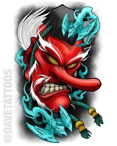 Image of DaiTengu Traditional Japanese Tattoos, Japanese Tattoo Art, Japanese Tattoo Designs, Japanese Sleeve Tattoos, Tengu Tattoo, Hanya Tattoo, Samurai Tattoo, Tatuaje Tengu, Tatuagem Old Scholl