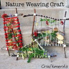 Nature weaving camping craft from Fun Crafts Kids