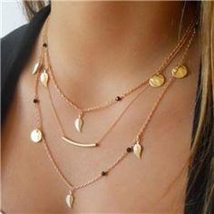 Ericdress Multi-Layer Golden Leaf Sequins Necklace