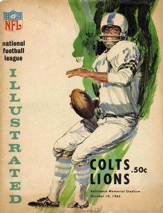 Baltimore Colts vs Detroit Lions program. Vintage Sports Pictures