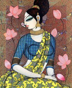 Madhubani Art, Madhubani Painting, Kalamkari Painting, Modern Indian Art, Indian Folk Art, Indian Art Paintings, Modern Art Paintings, Original Paintings, Indian Art Gallery