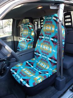 1 Set of Blue Artez Print  Seat Covers and 1 Piece by ChaiLinSews, $65.00