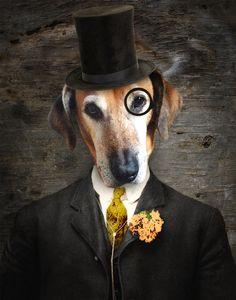 """Handsome Sam"" - Dapper dog with monocle & top hat, anthropomorphic fun"
