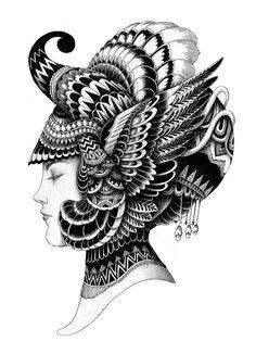 Ink Portraits by Iain Macarthur Unique Drawings, Cool Art Drawings, Pencil Art Drawings, Art Drawings Sketches, Black Pen Drawing, Doodle Art Drawing, Mandala Drawing, Black Pen Sketches, Mandala Sketch