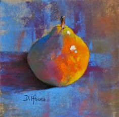 "fresh off my dusty easel, pastels by christine dimauro: Bartlett Pear #6, Pears Squared Series, 6"" x 6"" Pastel"