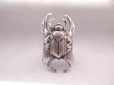 Egyptian Scarab Beetle Ring in Antiqued Silver от CelestialDebris