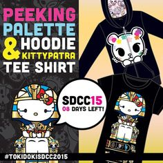 Peek-a-boo! Kawaii goodness is coming soon!! #tokidokiSDCC15 #kawaii #hellokitty #kittypatra #palette #tokidoki #tokidoki10ve #shirt #art #simonelegno