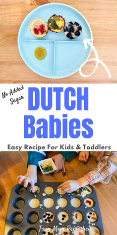 An easy food to make with kids. Mini muffin tin Dutch babies are good for kids and toddlers snacks or in lunch boxes for school meals! A quick and easy recipe to bake with kids. # Baking with kids Mini Muffin Dutch Babies for Kids Healthy Toddler Meals, Easy Meals For Kids, Toddler Snacks, Fun Easy Recipes, Easy Food To Make, Easy Snacks, Quick Easy Meals, Baby Food Recipes, Toddler Recipes