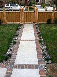 Even if you're unsure what kind of patio paths will best meet your requirements, you are able to rely on us for advice. A paver walkway is one of the most common sorts of paths used. Even a paver walkway… Continue Reading → Front Yard Walkway, Outdoor Walkway, Brick Walkway, Concrete Walkway, Brick Patios, Front Yard Landscaping, Walkway Ideas, Paving Ideas, Walkway Designs