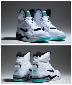 Nike Air Command Force High: White/Black-Wolf Grey-Hyper Jade I think the admiral, David Robinson wore these sneakers Sneakers Mode, Sneakers Fashion, Fashion Shoes, Nike Sneakers, Nike Air Force Preto, Zapatillas Jordan Retro, Air Jordan Retro, Kicks Shoes, Nike Kicks