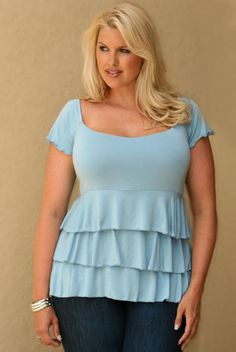 plus size ruffled blouse - dangerous - but looks good on her