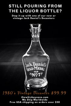Early vintage decanter available at The Whiskey Cave. Jack Daniels sold these originally at The Lynchburg Hardware Store. Jack Daniels Gifts, Jack Daniels Bottle, Jack Daniels Whiskey, Liquor Bottles, Vodka Bottle, Whiskey Quotes, Cocktail Shots, Alcoholic Drinks, Cocktails