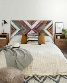 Is it difficult to build a headboard at home? Do not worry, try the DIY rustic wooden headboard design. Get brilliant tips and ideas. Rustic Wooden Headboard, Reclaimed Wood Wall Art, Wooden Wall Art, Wooden Walls, Wood Art, Wall Wood, Painted Headboard, Painted Walls, Headboard Designs