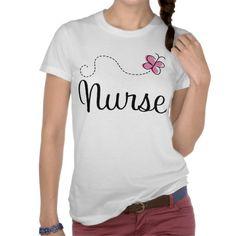 Pink Butterfly Nurse Gift Tee