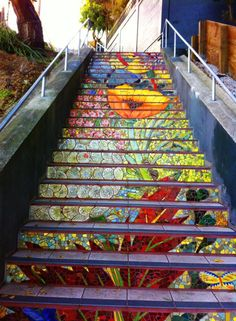16th Ave Mosaic Stairs, San Francisco, CA | created by Irish ceramist Aileen Barr & mosaic artist Colette Crutcher with the help of 300 volunteers