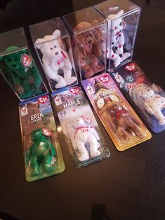 Complete Set of 4 Rare TY Beanie Babies Erin, Canada, Britannia, Glory AND complete set of Mcdonalds Teenie Ty Beanie Babies Mini's Rare Beanie Babies, Beanie Baby Bears, Original Beanie Babies, Ty Beanie Boos, Beenie Babies, Make Money From Pinterest, Display Boxes, Cool Toys, Craft Supplies