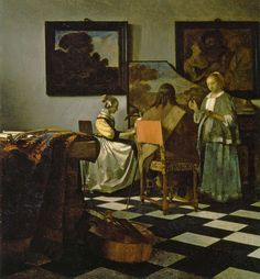 Johannes Vermeer | The Concert, c. 1663-66 69 x 63 cm. oil on canvas Signed right centre on picture frame: IVMeer (IVM in monogram) Isabella Stewart Gardner Museum, Boston