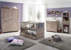 Babyzimmer Olek Eiche Sägerau 5333. Buy now at https://www.moebel-wohnbar.de/babyzimmer-komplett-olek-kinderzimmer-4-tlg-eiche-saegerau-5333.html