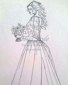 schizzo illustrazione sposa disegnata a mano da @MissStyleCreazioni  #brideillustration #fashionillustration #drawing #sketch #bride #handmade #madeinitaly