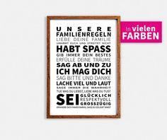Familienregeln - Kunstdruck - Poster von Jennifer Vahlbruch Photography auf DaWanda.com