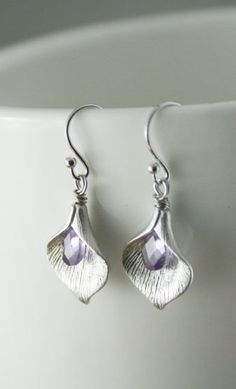 Silver Calla Lily Drop Earrings with amethyst