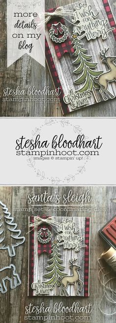 Santa's Sleigh Stamp Set and Coordinating Framelits Dies Join Forces with Buffalo Plaid to Create a Rustic Feel Christmas Card for GDP116 Case the Designer Challenge #GDP116 #steshabloodhart #stampinhoot #buffaloplaid #christmascard