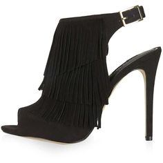 TOPSHOP RHONDA Fringe Sandals ($85) ❤ liked on Polyvore featuring shoes, sandals, black, genuine leather shoes, topshop, fringe sandals, black fringe sandals and topshop shoes