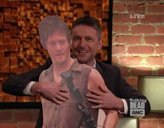 Chris Hardwick (with cardboard, life size Daryl Dixon stand up) on Talking Dead - March 3, 2014 #TalkingDead #DarylDixon #ChrisHardwick