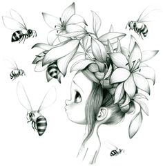 Little girl with flowers on her head & bees art