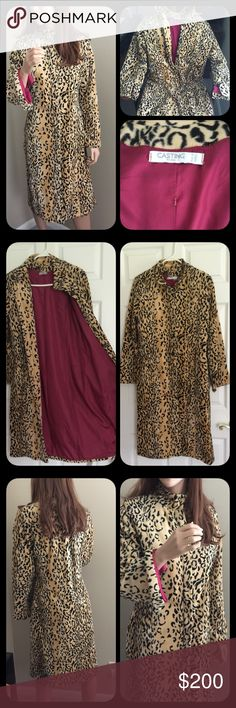 "Casting Paris France Leopard Coat ❤️Paris France❤️Vintage leopard Cheetah Coat❤️nice!!! In perfect condition! Has a gorgeous red inner lining❤️measures armpit to armpit 19.5"" Waist 20"" Hips 21.5"" Length 42"" Sleeve 23.5""❤️There is no size on the tag but based on these measurements it is about a Large♥️ Vintage Jackets & Coats"
