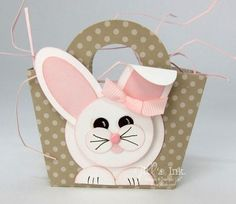 handmade mini Easter Basket  ... adorable punch art bunny with a bow around her ear ... Stampin' Up!