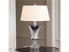 """Shop for Global Views Silver Flared Urn Lamp, 1.10102, and other Lamps and Lighting at Englishman's Interiors in Dallas, TX. Shade: 16""""Top x 20""""Bottom x 10""""H. Base: 12""""Dia. X 32""""H."""