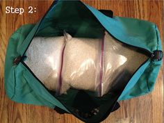 """Homemade """"sandbag"""". I've had mine for a year, but you never know!"""