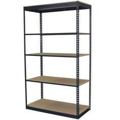 72 in. H x 48 in. W x 18 in. D 5-Shelf Steel Boltless Shelving Unit with Low Profile Shelves and Particle Board Decking, Powder Coated Steel Color Gray