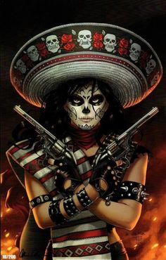 La Muerta: Bandita Print-Artwork: Richard Ortiz (pencils), Sabine Rich (color) Full color print on premium glossy stock. Available SIGNED by Lady Death creator Brian Pulido as a no-cost option. Los Muertos Tattoo, Aztecas Art, Day Of The Dead Artwork, Character Art, Character Design, Catrina Tattoo, Sugar Skull Girl, Sugar Skulls, Lowrider Art