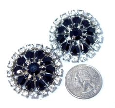 Huge Black and Clear Rhinestone Earrings by BanglesBeadsVintage, $29.00