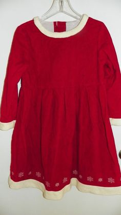 HANNA ANDERSSON Christmas Holiday Corduroy Dress RED Sz 130  7-10 YRS  BEAUTIFUL #HannaAndersson #Holiday